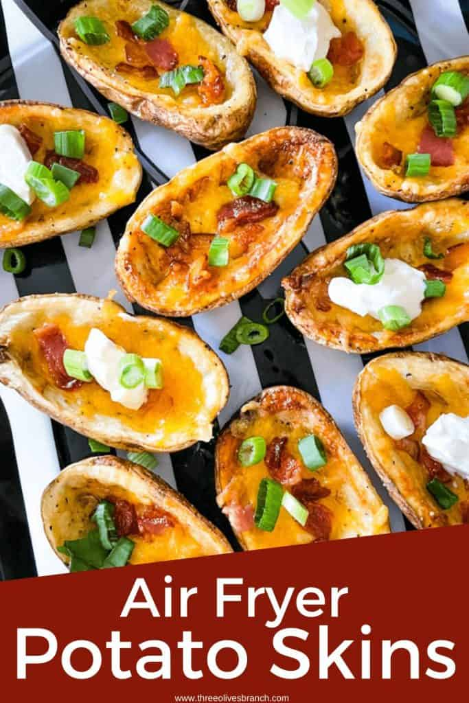Pin image for Air Fryer Potato Skins in a tray with title at bottom