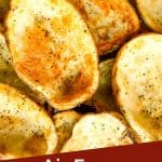 Pin image of empty Air Fryer Potato Skins shells with title at bottom