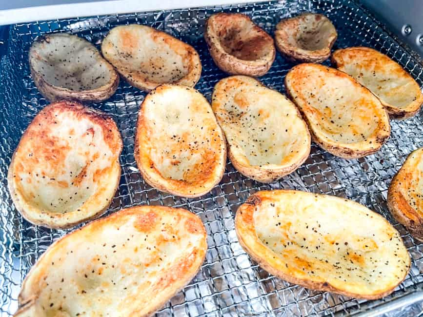 Potato shells that have been cooked