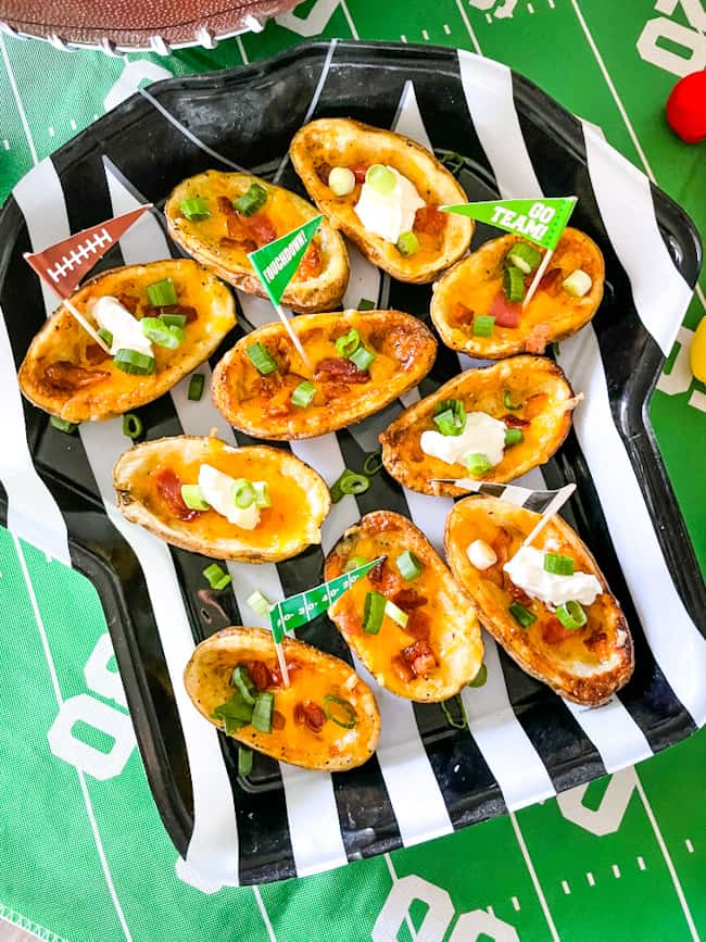 Football themed potatoes with classic fillings and football flags