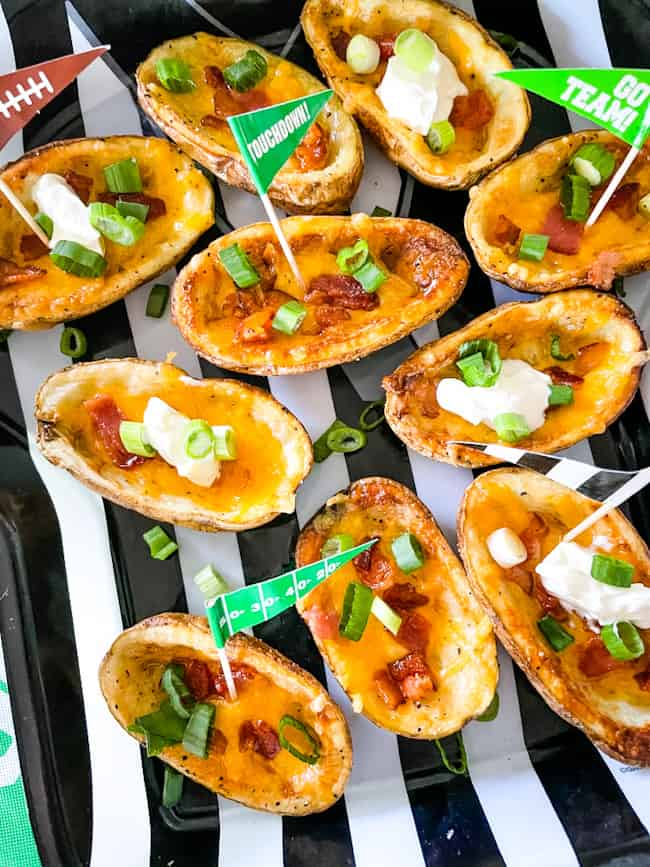 Game day Air Fryer Potato Skins with classic fillings