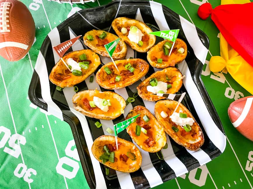 A football ref tray filled with Air Fryer Potato Skins