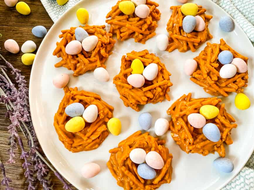 Birds Nest Cookies on a white plate