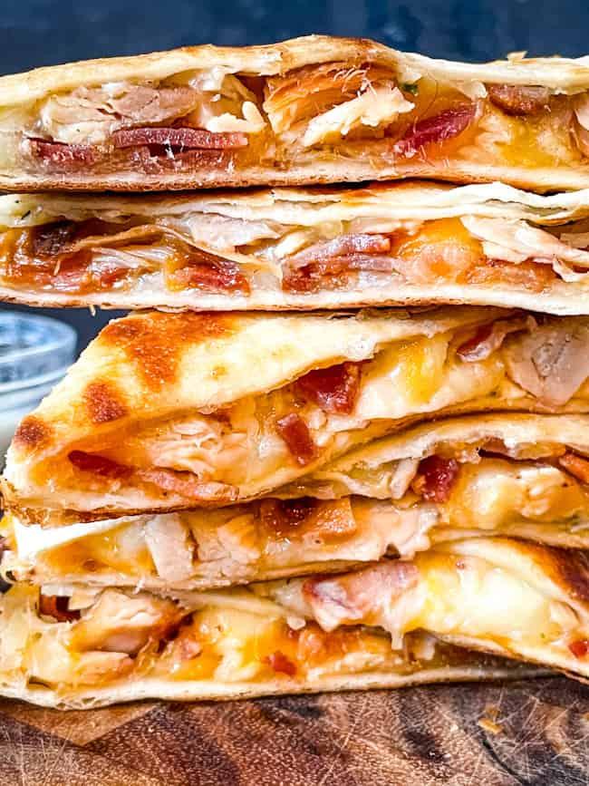 A stack of Chicken Bacon Ranch Quesadillas pieces
