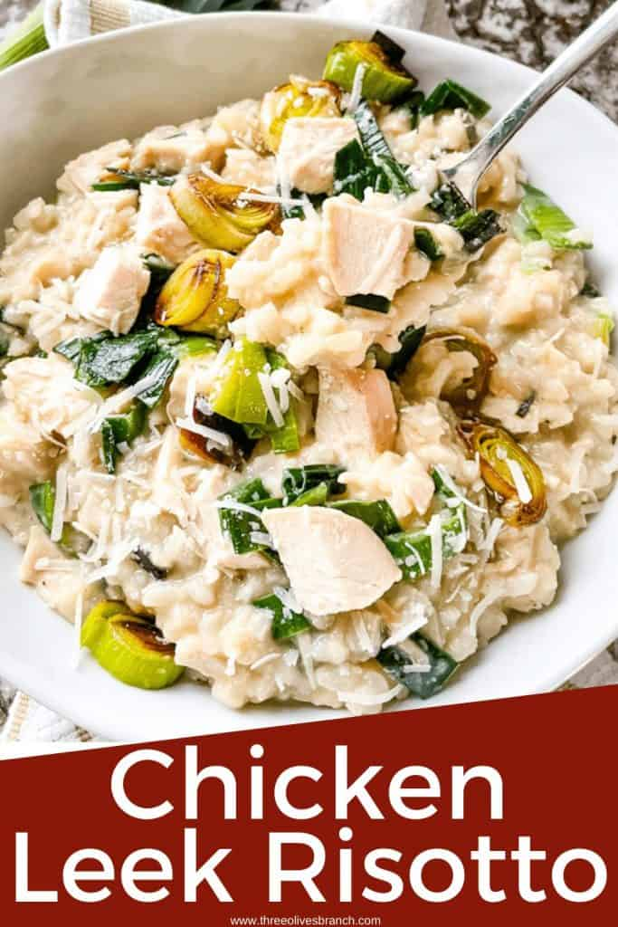 Pin image of a fork digging into Chicken and Leek Risotto with title at bottom