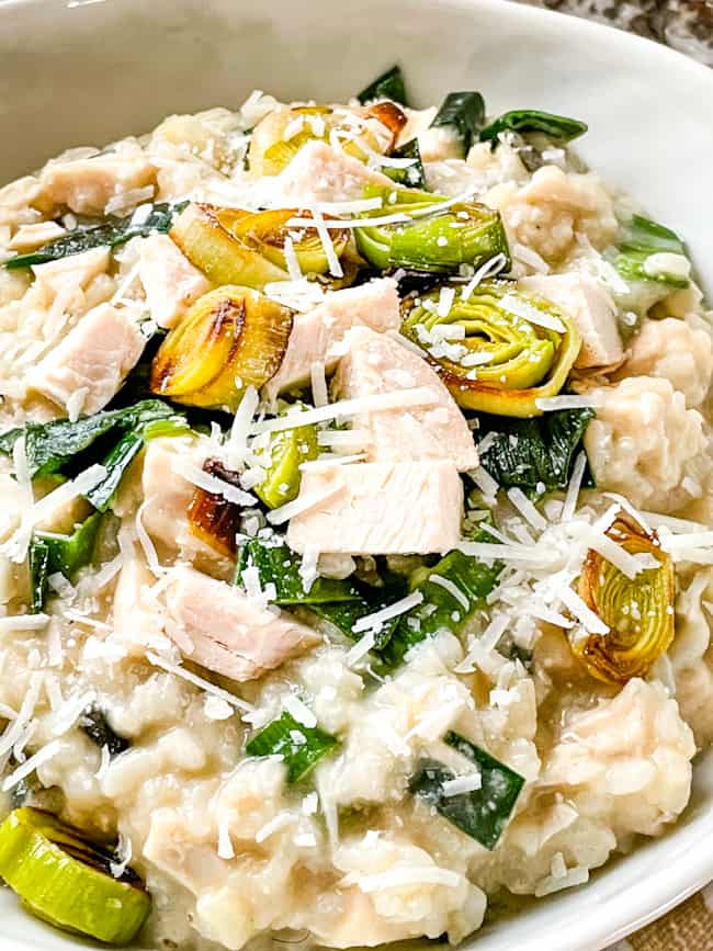 A full bowl of Chicken and Leek Risotto