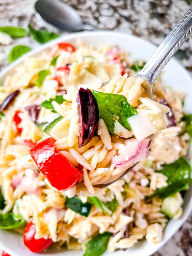 A spoon of Greek Orzo Salad