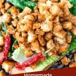 Pin image for Homemade Mexican Croutons piled on lettuce with peppers and title at bottom