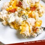 Pin image of Keto Chicken Bacon Ranch Casserole on a white plate with title at bottom