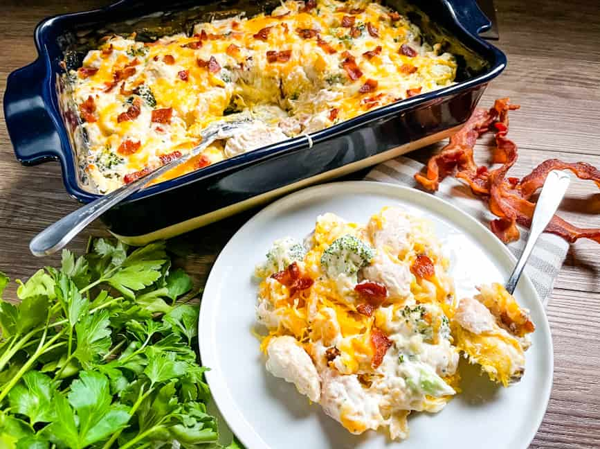 Low carb chicken casserole on a plate and in the serving dish