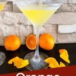 Pin image of a Orange Martini being poured with title at bottom