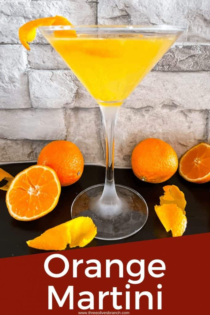 Pin image of a glass of Orange Martini with title at bottom