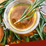 Pin image top view of Rosemary Simple Syrup surrounded by herbs with title at bottom