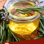 Pin image of a jar of Rosemary Simple Syrup with title at bottom