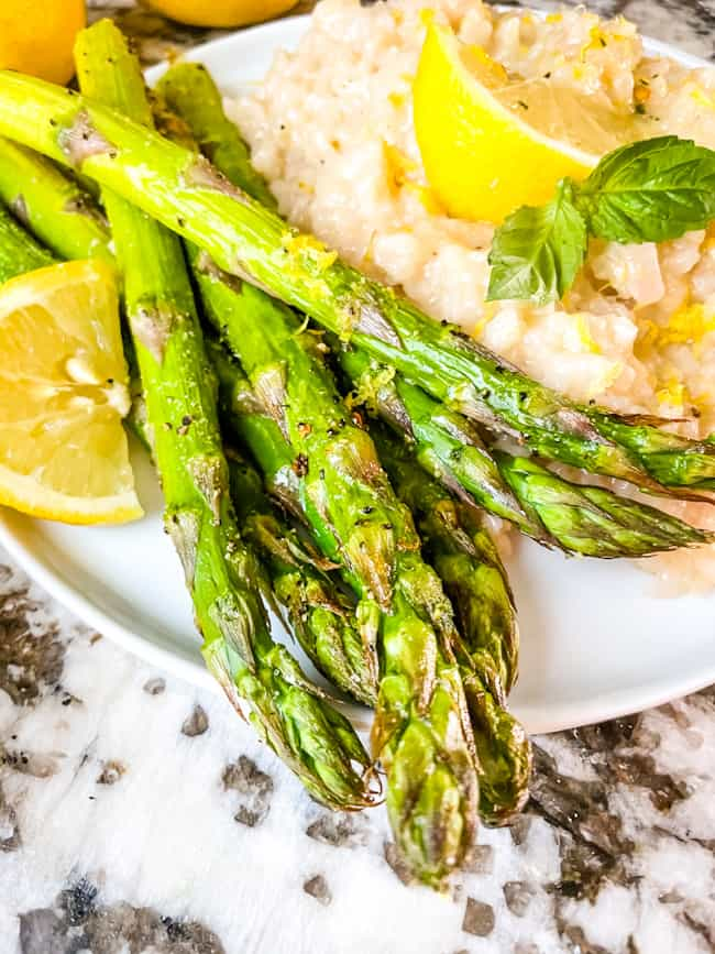 Asparagus from an air fryer on a plate