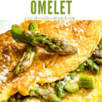 Pin image close up of Asparagus Omelette with title