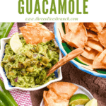 Pin image for Hatch Green Chile Guacamole with chips