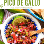 Pin image of a bowl of Hatch Green Chile Pico de Gallo with title at top