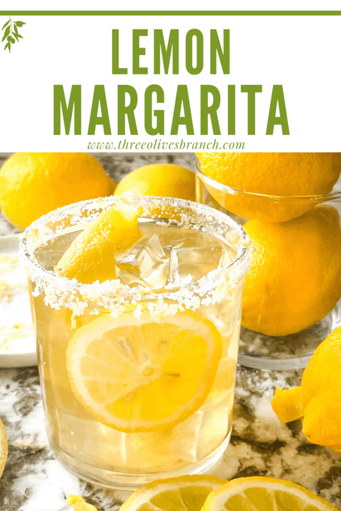 Pin image of Lemon Margarita in a glass with lemons around it and title at top