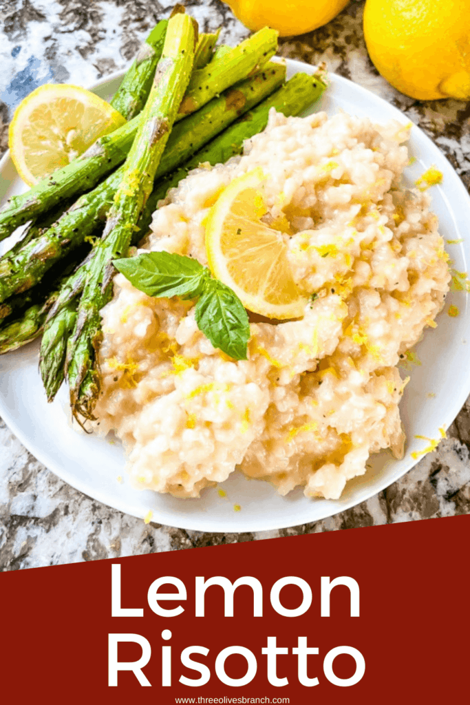 Pin image for Risotto al Limone (Lemon Risotto) on a white plate with asparagus and title at bottom