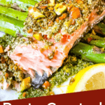 Pin image for Pesto Crusted Salmon part eaten with title at bottom