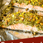 Pin image of two Pesto Crusted Salmon on a pan with title at bottom