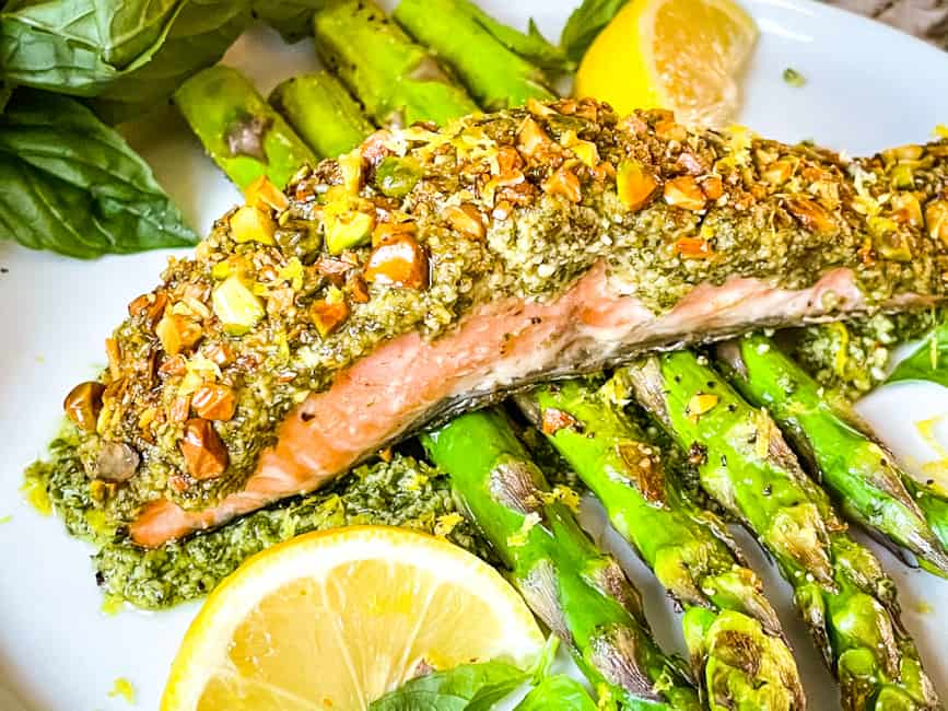 Cooked fish on asparagus