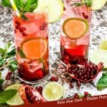 Pin image for Pomegranate Mojito with two cocktails surrounded by limes and pomegranate seeds