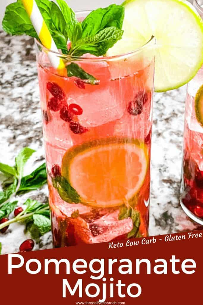 Pin image for Pomegranate Mojito of a close up of a drink with title at bottom