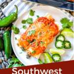 Pin image of Southwest Ground Turkey Enchiladas being plated with title at bottom