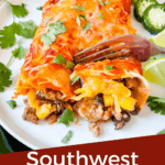 Pin image of a fork cutting into Southwest Ground Turkey Enchiladas with title at bottom