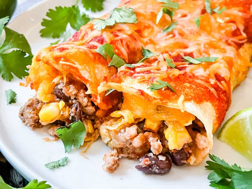 Close up of the end of Southwest Ground Turkey Enchiladas on a plate