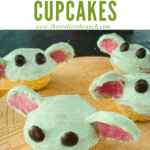 Pin image for Baby Yoda Cupcakes on a ship cutting board