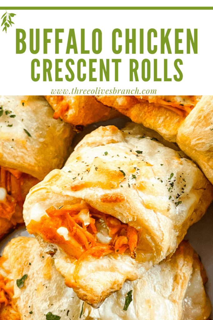 Pin image close up of Buffalo Chicken Crescent Rolls in a pile with title at top