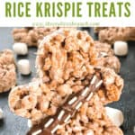 Pin image of shaped Chewbacca Rice Krispie Treats with title at top