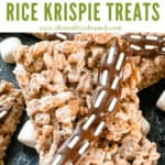 Pin image of rectangle Chewbacca Rice Krispie Treats with title at top