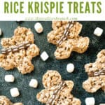 Pin image of Chewbacca Rice Krispie Treats on a black board with title at top