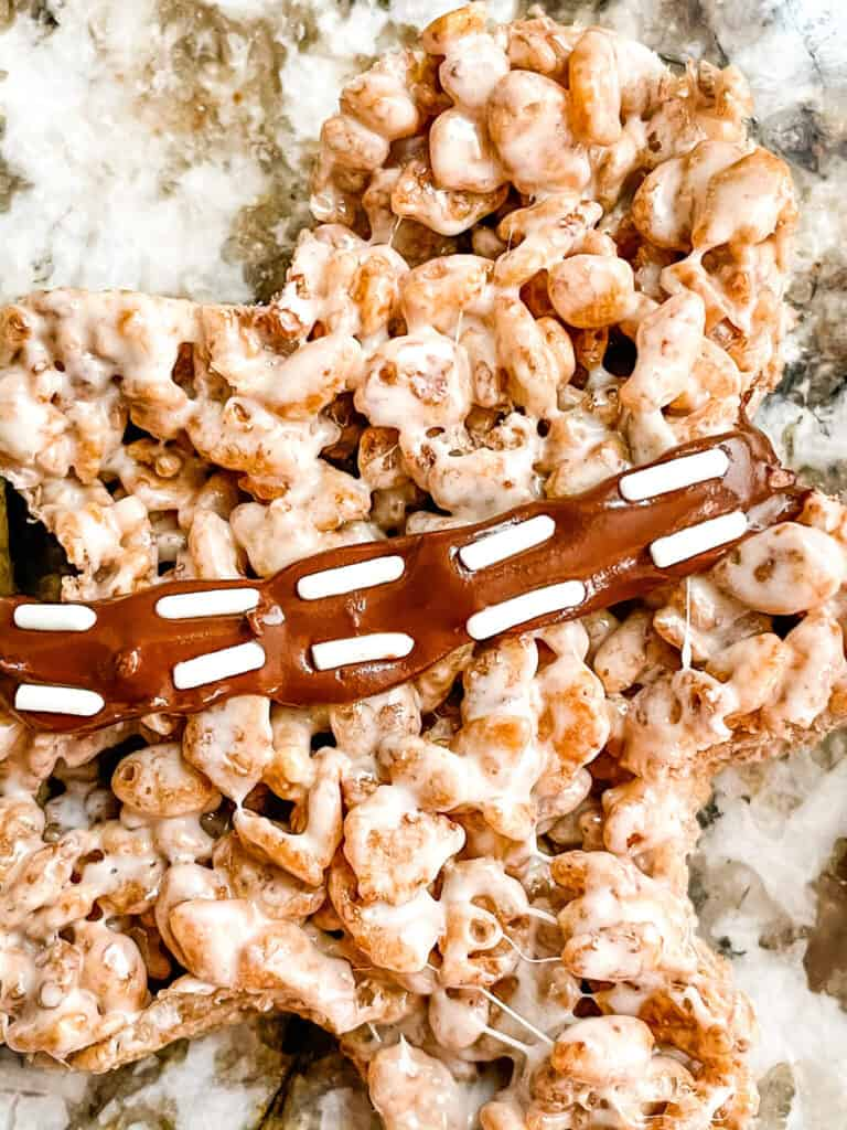 Close up of Chewbacca Rice Krispie Treat shaped image
