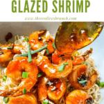 Pin image of Chipotle Orange Glazed Shrimp on noodles in a bowl