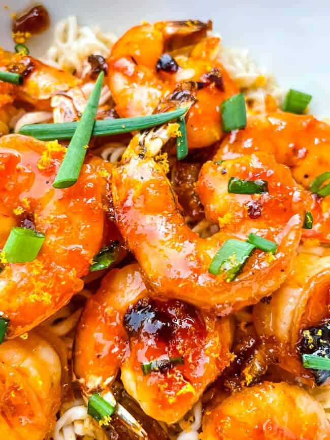 A pile of the shrimp close up
