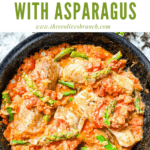 Pin image of Cod Pomodoro with Asparagus in a skillet with title at top