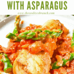 Pin image of a piece of Cod Pomodoro with Asparagus on a plate with title at top