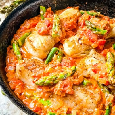 Cod Pomodoro with Asparagus Recipe Story