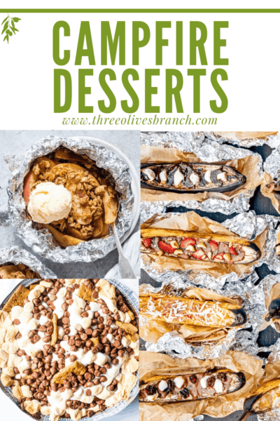 Pin image of a collection of Campfire Desserts with title at top