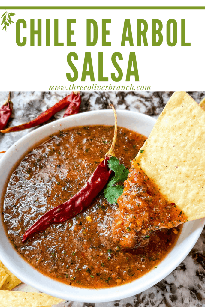 Pin image of a chip dunking into a bowl of Salsa Chile de Arbol with title at top