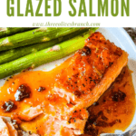 Pin image for Chipotle Orange Glazed Salmon partially eaten with title at top