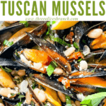Pin image close up fo Copycat Maggiano's Tuscan Mussels with title at top