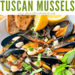 Pin image of Copycat Maggiano's Tuscan Mussels in a bowl with title at top