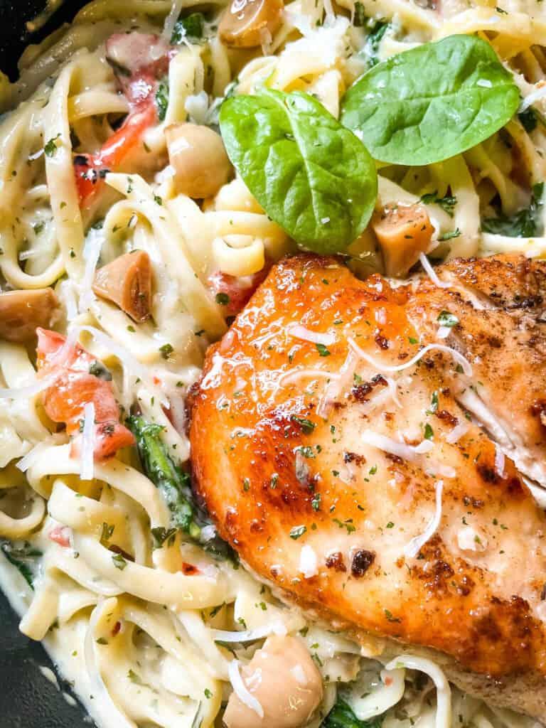 Close up of Copycat Olive Garden Tuscan Garlic Chicken
