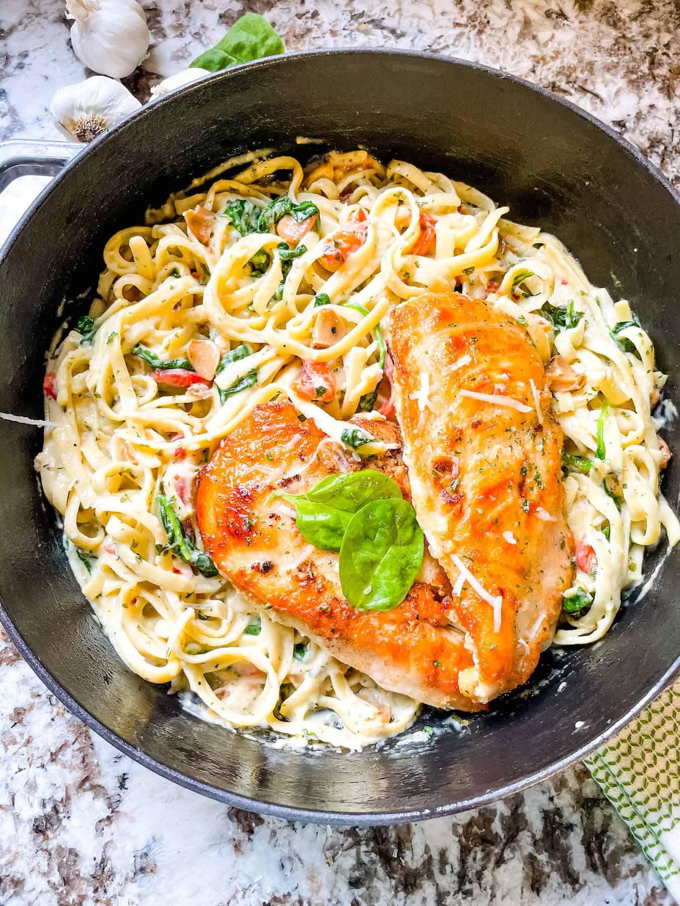 Copycat Olive Garden Tuscan Garlic Chicken in a pot